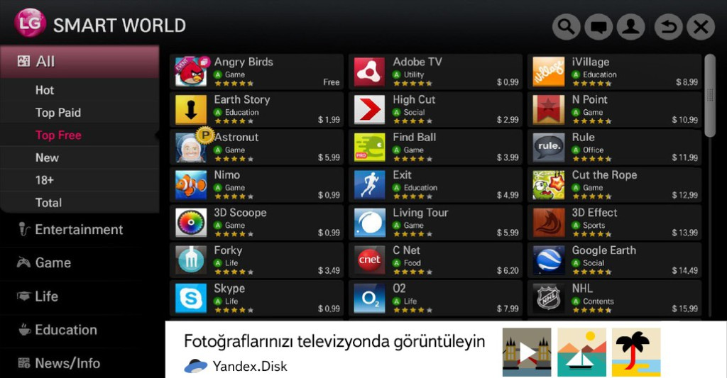 Fragtist Yandex.Disk, LG Smart TV